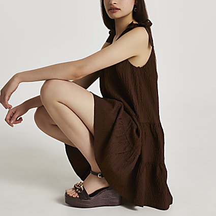 Brown tie strap smock dress