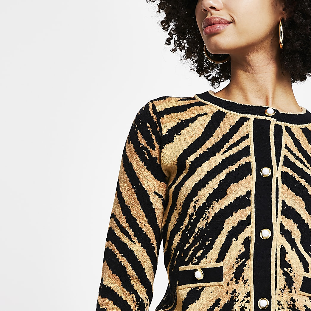 Brown tiger print cardigan