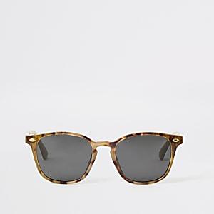 Bruine smalle zonnebril met schildpadprint