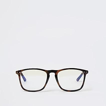 Brown tortoise shell blue light lens glasses