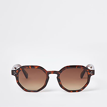 Brown tortoise shell hexagon retro sunglasses