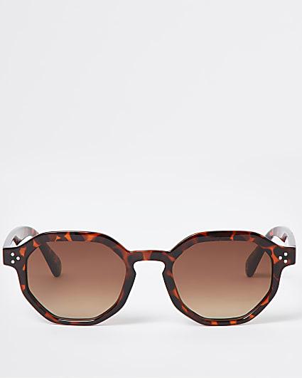 Brown tortoise shell hexagon retro sunglasses