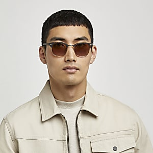 Brown tortoise shell retro frame sunglasses