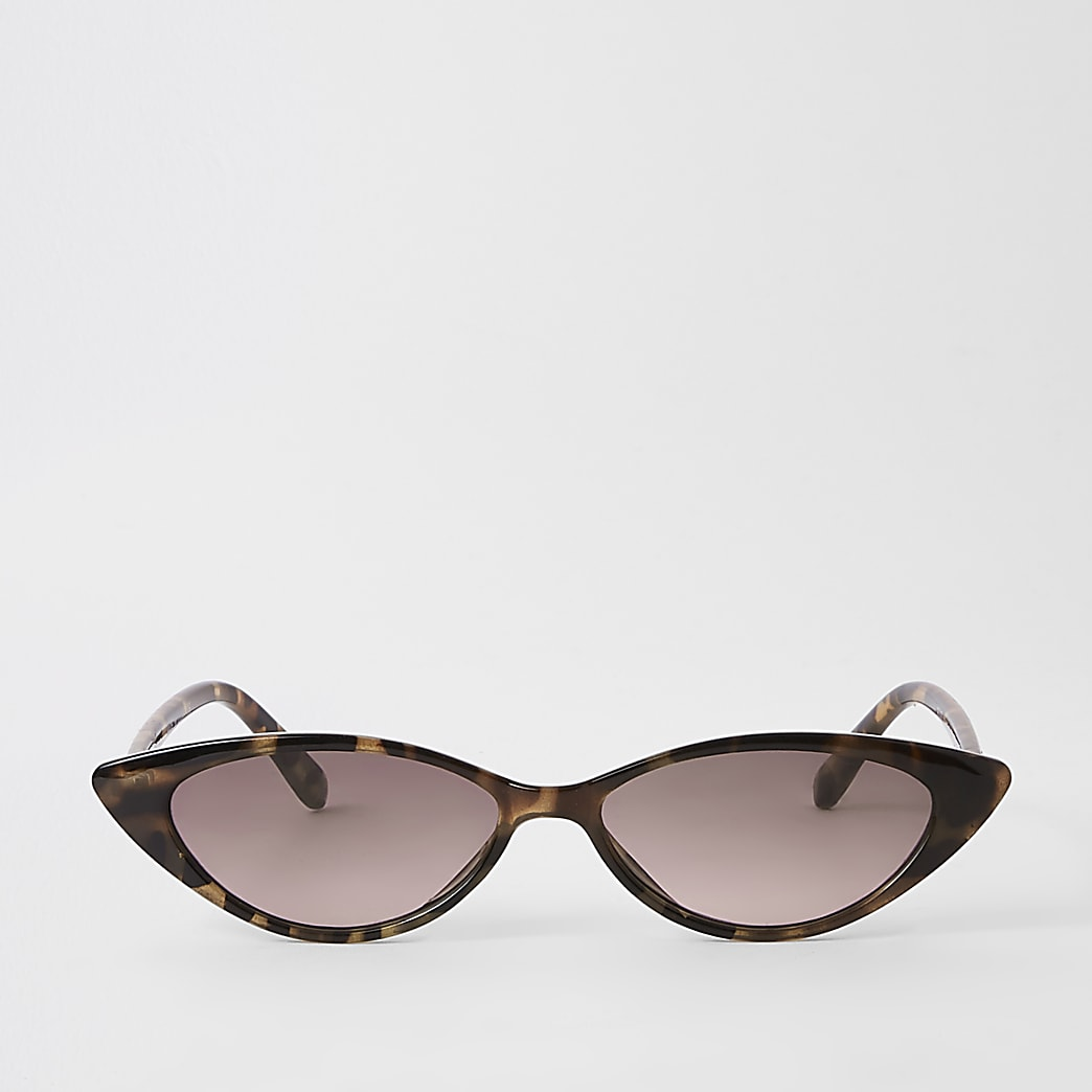 Brown tortoise shell slim cat eye sunglasses