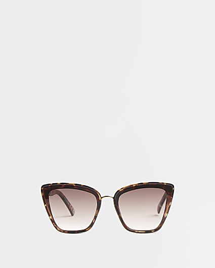 Brown tortoise studded cat eye sunglasses