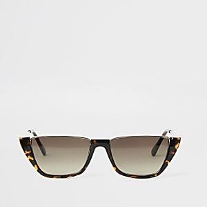 Bruine demi zonnebril met schildpadprint