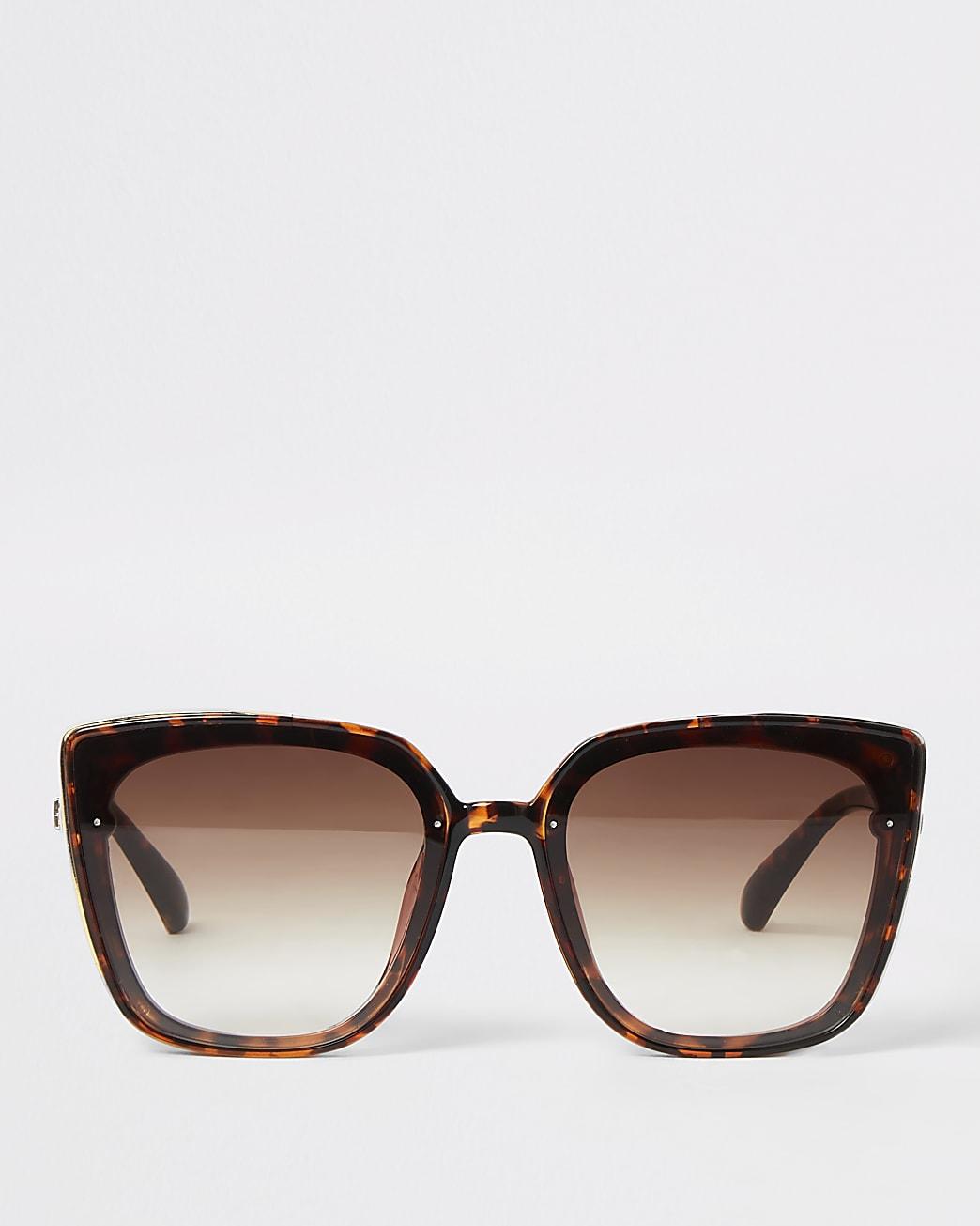 Brown tortoiseshell gold side glam sunglasses
