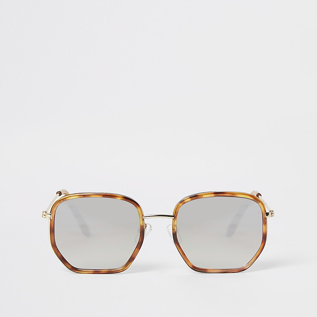 Brown tortoiseshell hexagon sunglasses