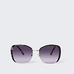 Brown tortoiseshell metal trim sunglasses