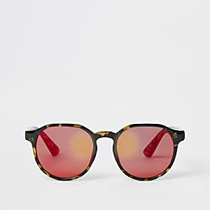 Lunettes de soleil rondes marron motif écaille de tortue