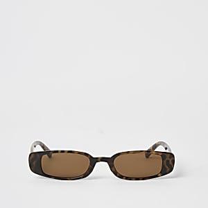 Bruine smalle zonnebril met tortoiseprint
