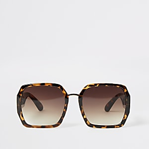 Bruine vierkante zonnebril met schildpadprint