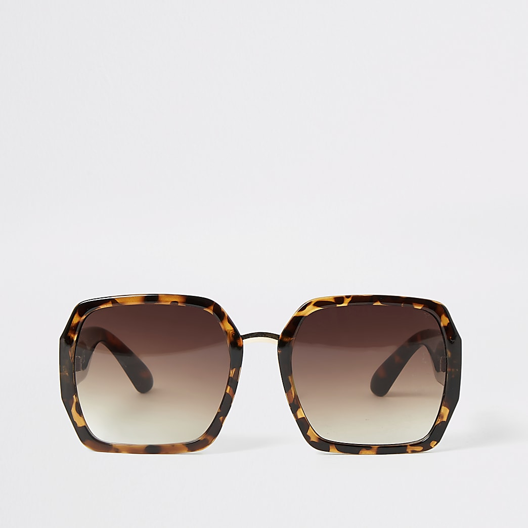 Eckige Sonnenbrille in Schildpattoptik in Braun