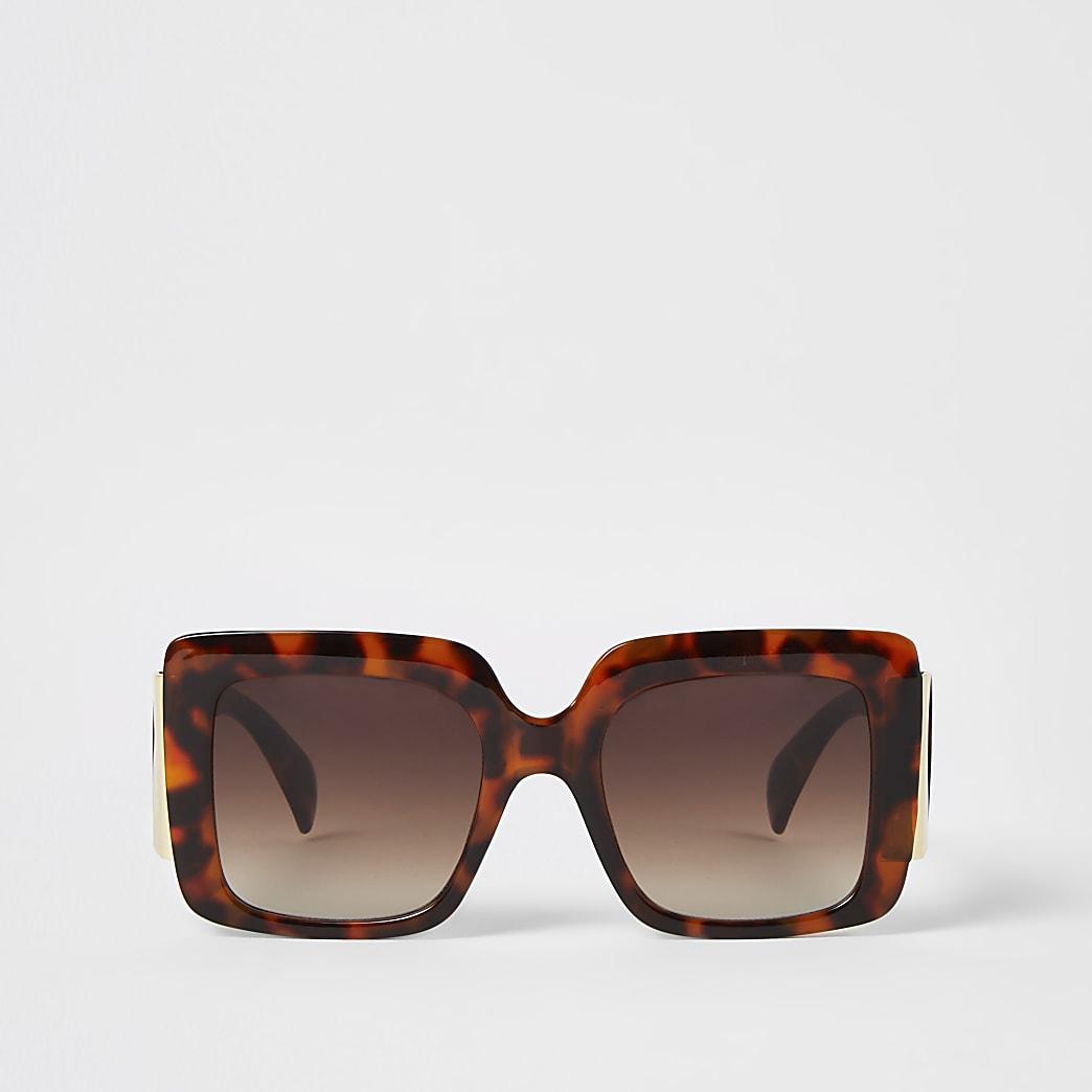 Lunettes de soleil carrées écaille de tortue marron