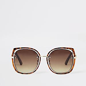 Brown tortoiseshell suspended glam sunglasses