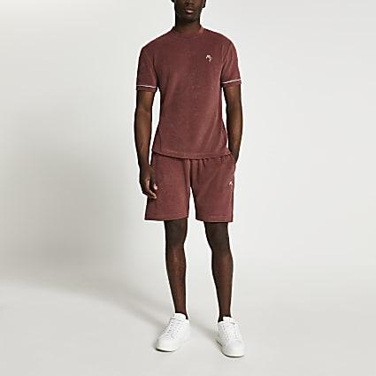 Brown towelling slim fit shorts