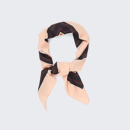 Brown trellis logo border scarf