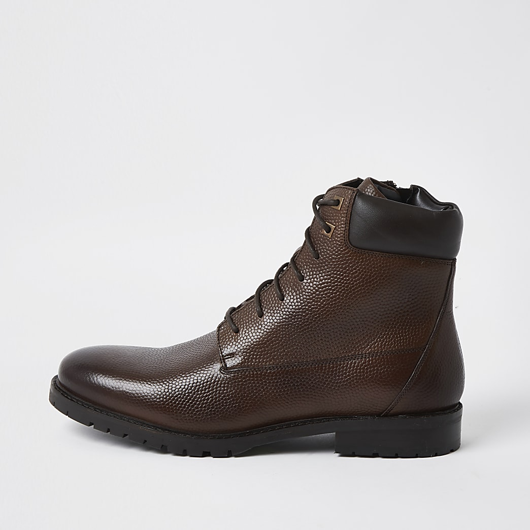 Brown tumbled leather boots
