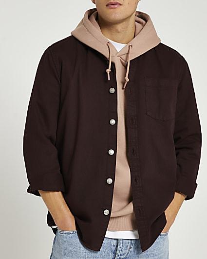 Brown twill regular fit long sleeve shirt