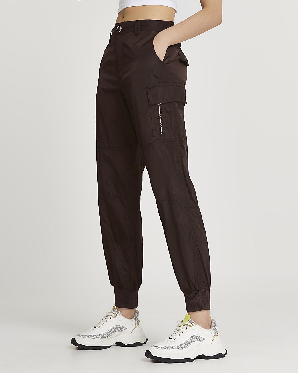 Brown utility nylon cuffed trousers