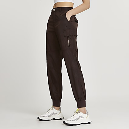 Brown utility nylon cuffed trousers