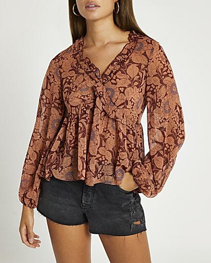 Brown v neck floral frill top