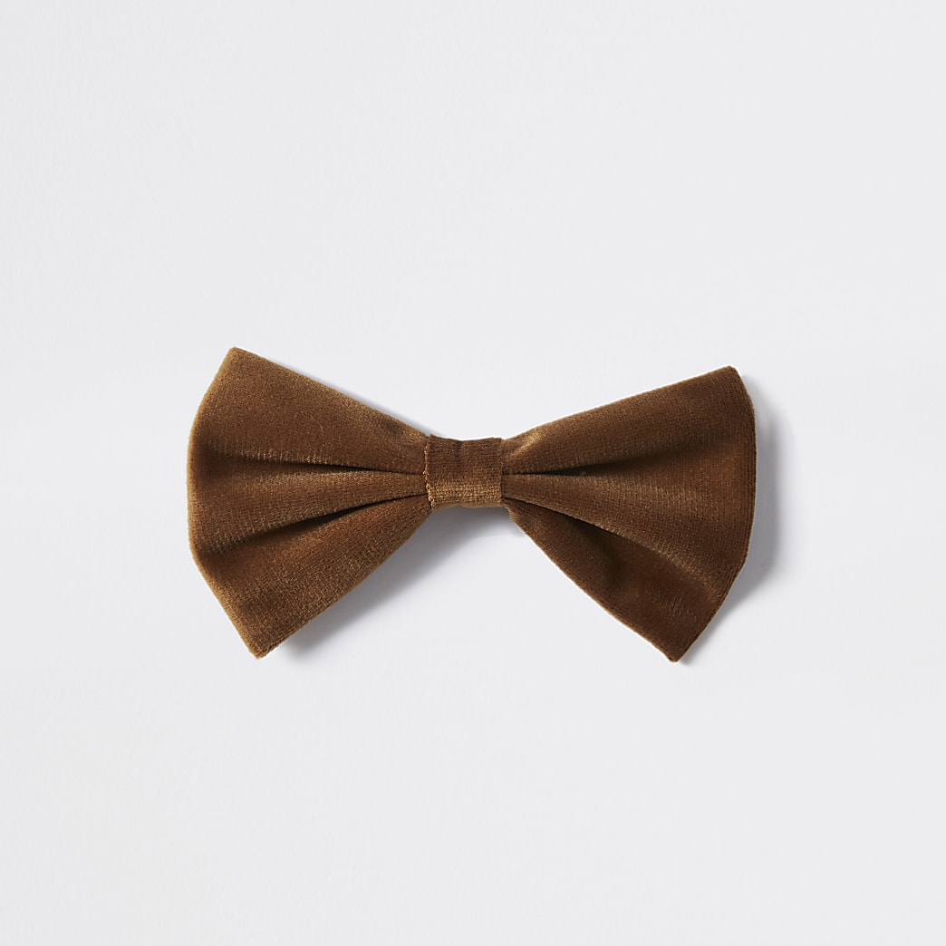 Nœud papillon en velours marron
