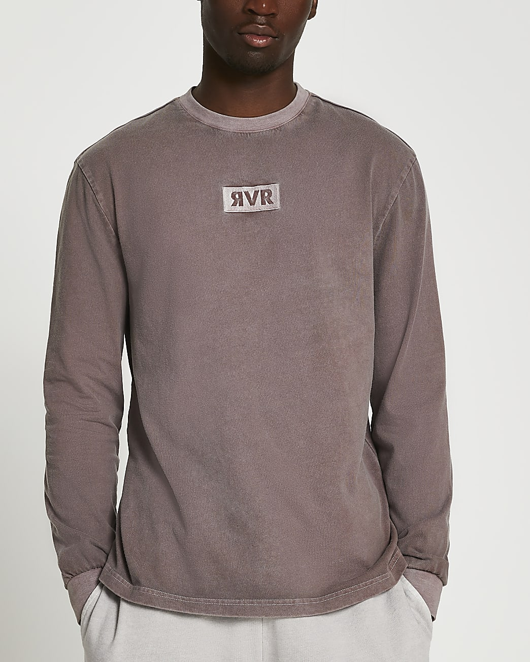 Brown washed drench RVR long sleeve t-shirt