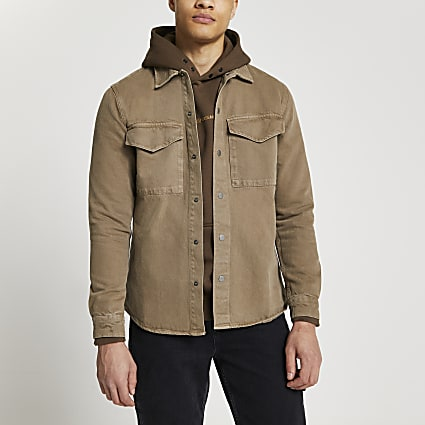 Brown washed long sleeve shacket