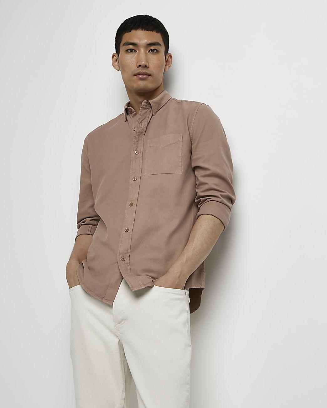 Brown washed organic long sleeve shirt