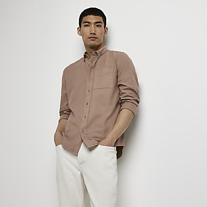 Brown washed organic long sleeve shirt