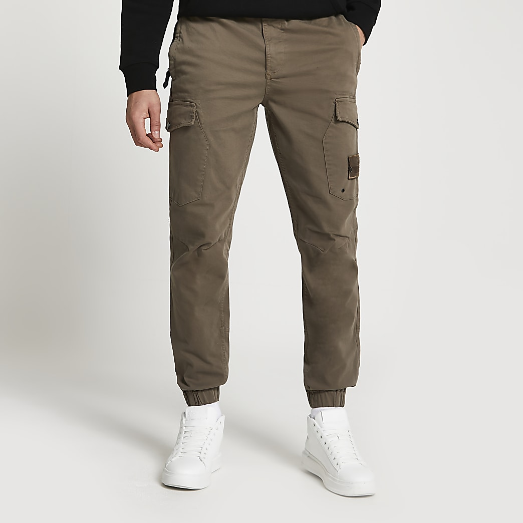 Brown washed slim fit cargo trousers