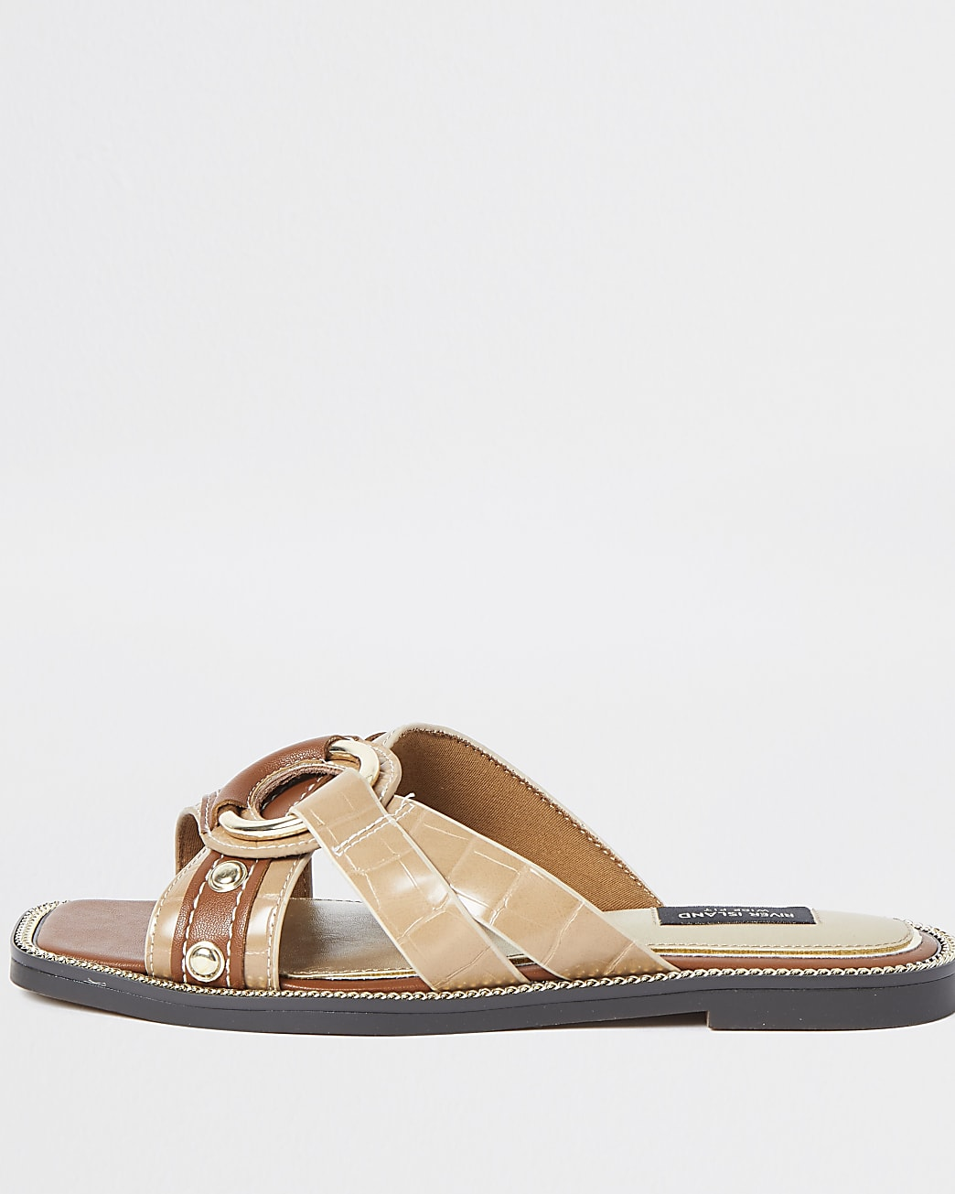 Brown wide fit cross strap sandals
