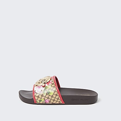 Brown wide fit floral RI monogram sliders