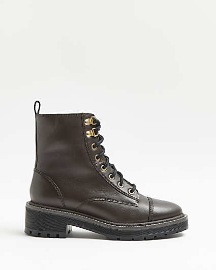 Brown wide fit leather ankle boots