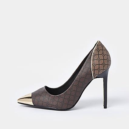 Brown wide fit RI monogram court shoe