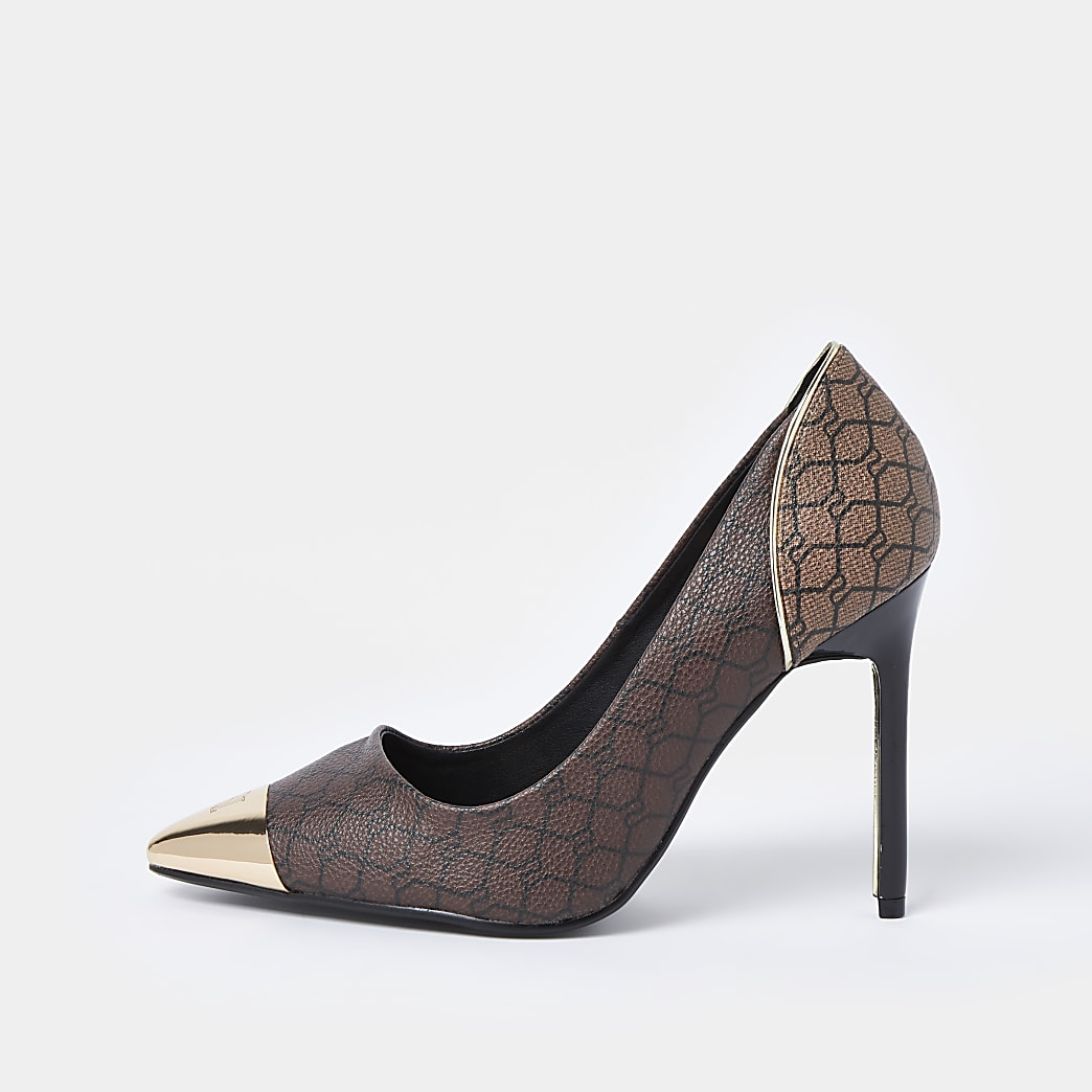 Brown wide fit RI monogram court shoe