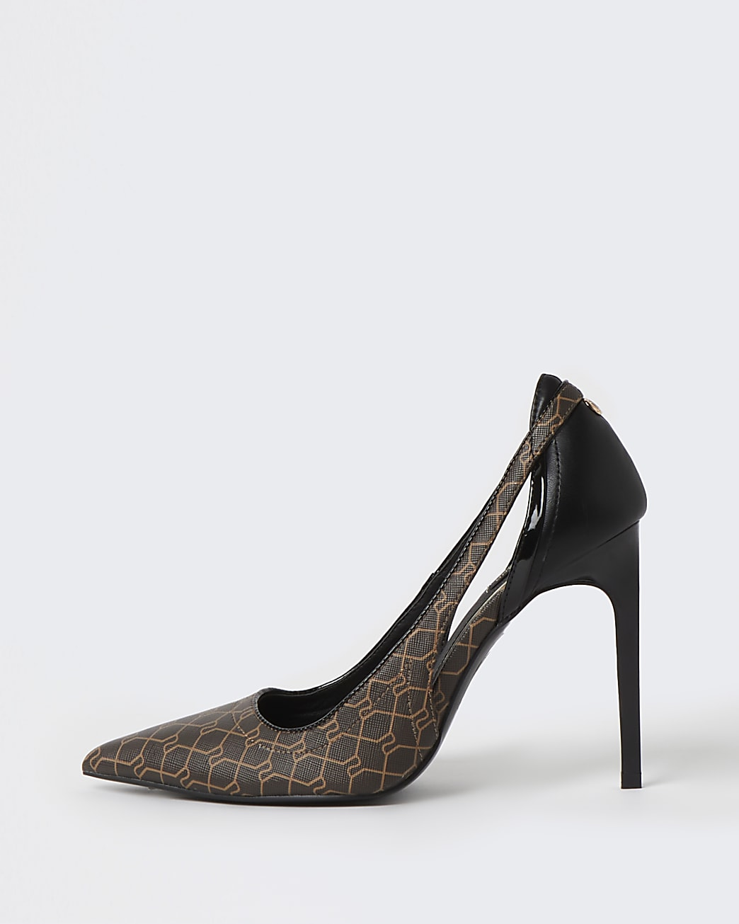 Brown wide fit RI monogram court shoes