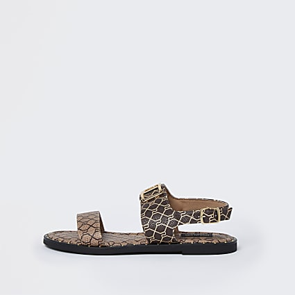 Brown wide fit RI monogram two part sandal