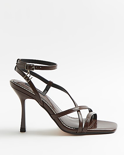 Brown wide fit strappy heeled sandals