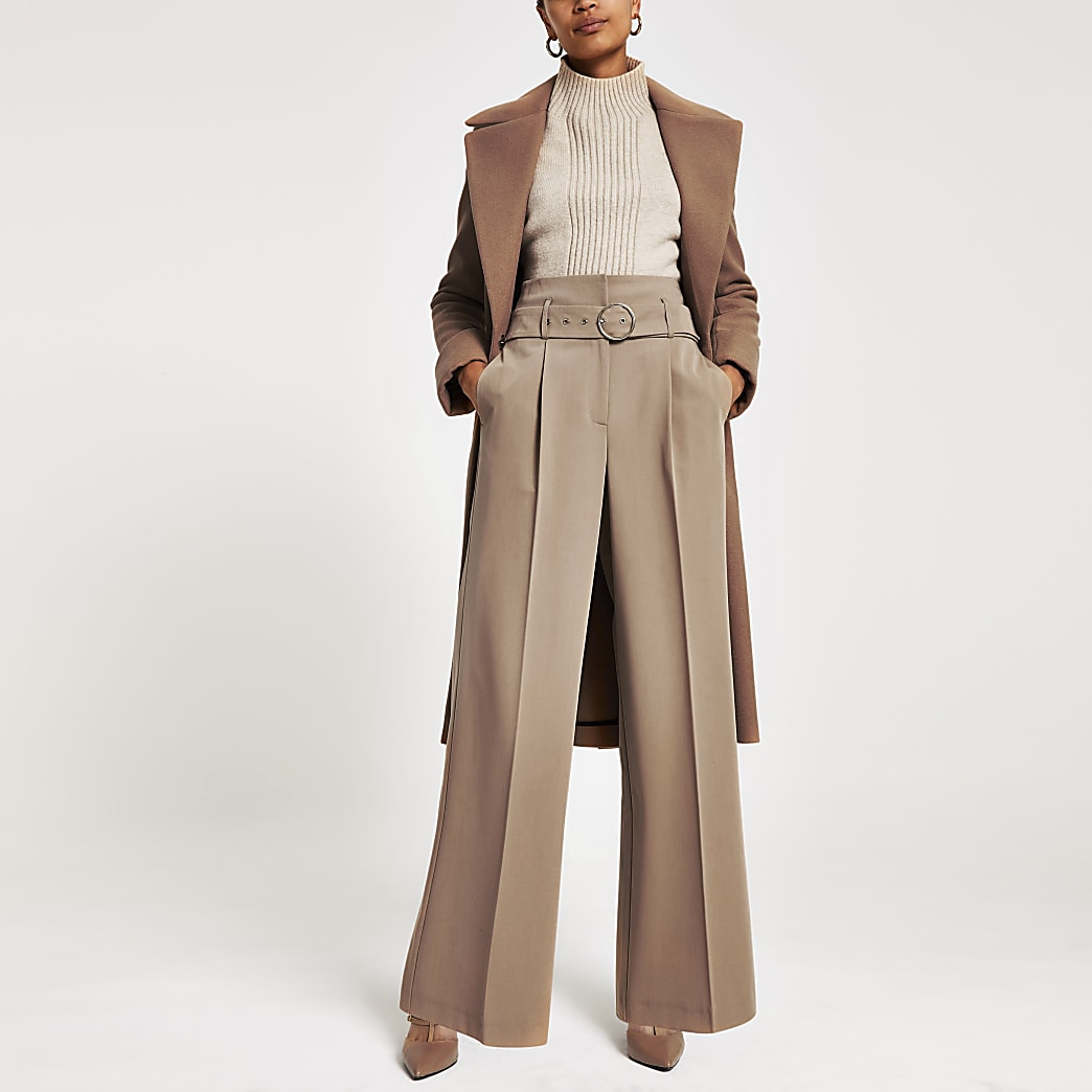 Brown wide leg belted trousers