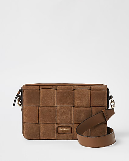 Brown woven leather cross body bag
