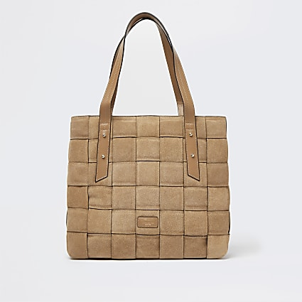 Brown woven suede shopper bag