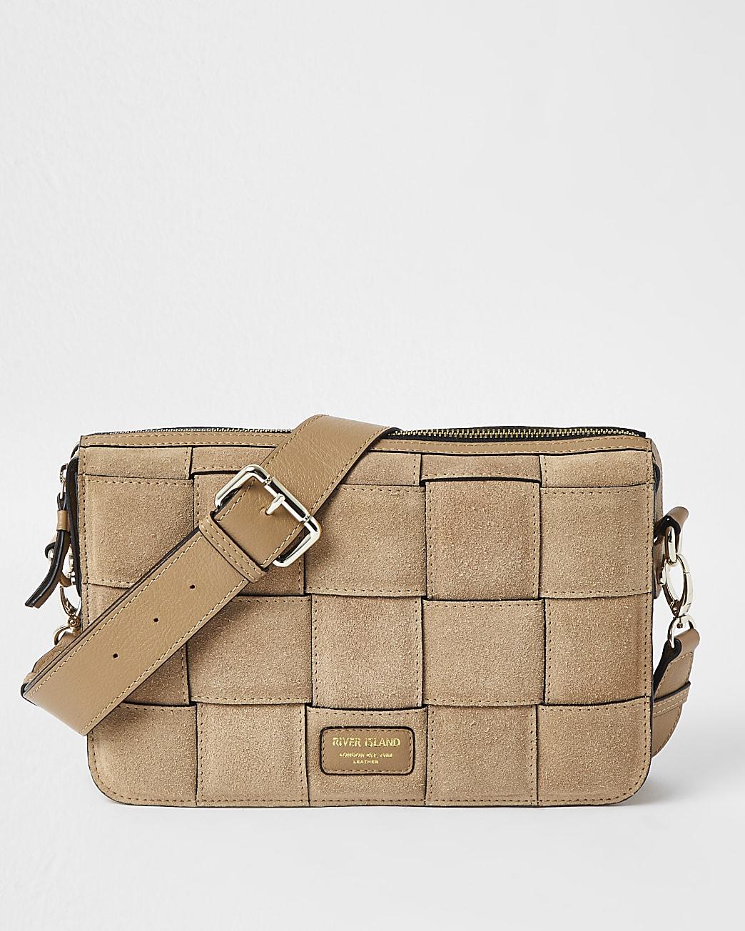 Brown woven suede shoulder bag