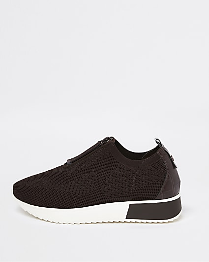 Brown zip front knitted trainers