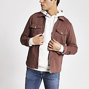 Bruin overshirt met rits voor en standaard pasvorm