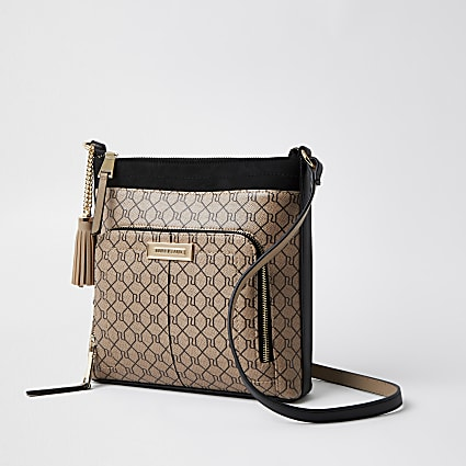 Brown zip RI monogram print messenger bag