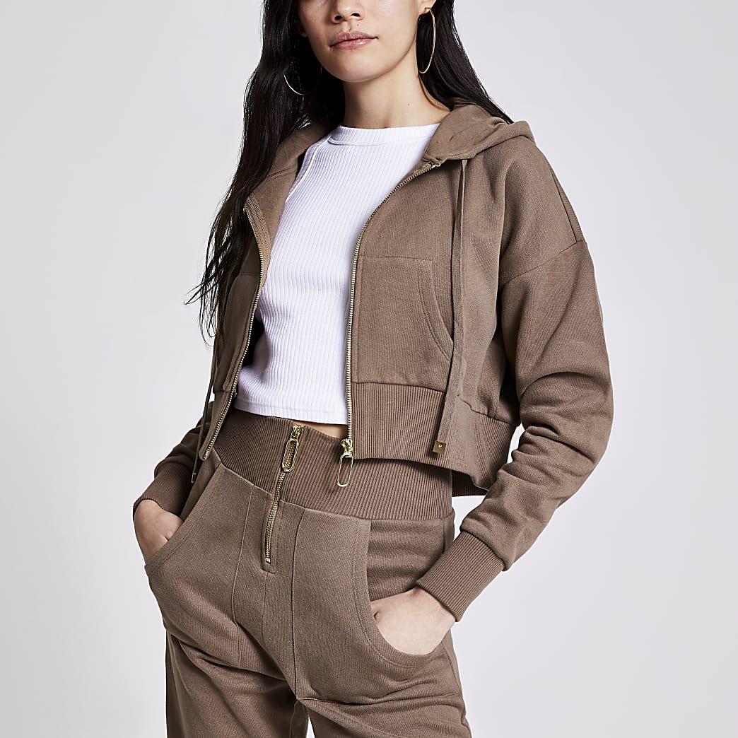Brown zip through cropped hoodie