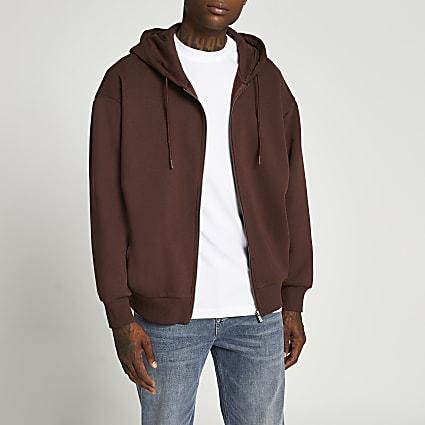 Brown zip through oversized hoodie