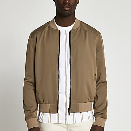 Brown zip thru bomber jacket